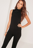 Missguided Tall High Neck Sleeveless Ribbed Top Black