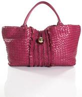 Bill Blass Pink Woven Leather Large Tote Handbag