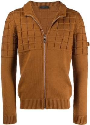 grid pattern zip fleece
