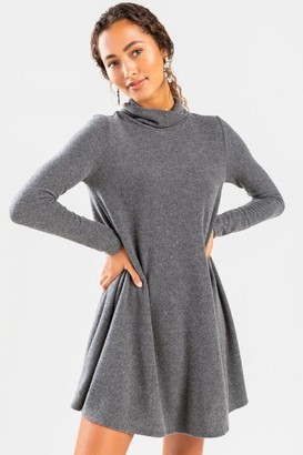 francesca's Willah Mock Neck Knit Mini Dress - Charcoal
