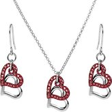 Body Candy Red Duo Floating Heart Necklace and Earring Set
