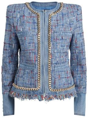 Balmain Collarless Denim Tweed Jacket