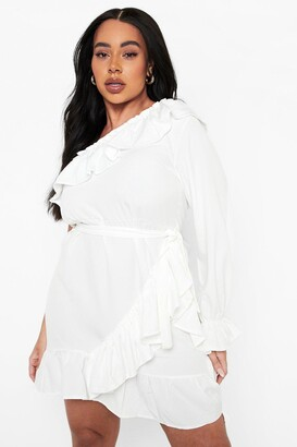 boohoo Plus One Shoulder Ruffle Tie Waist Dress