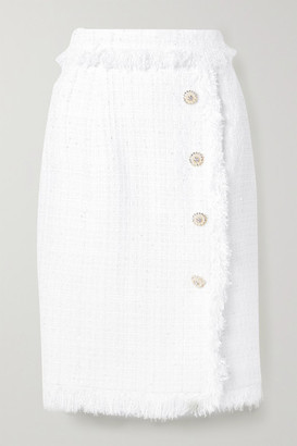 RALPH & RUSSO Fringed Embellished Metallic Tweed Skirt - White