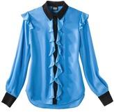Prabal Gurung For Target® Ruffle Front Long-Sleeve Blouse -Dresden Blue