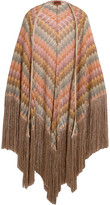 Missoni Fringed Metallic Crochet-knit Wrap - Pink