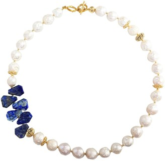 Lapis Farra Freshwater Pearls & Natural Lazuli Short Necklace