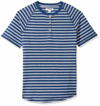 Goodthreads Men's Short-Sleeve Indigo Henley Dark Triple Stripe Medium Tall