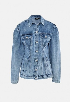 Missguided Tall Blue Cinched Waist Puff Sleeve Denim Jacket