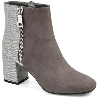 Brinley Co. Womens Two-tone Block Heel Bootie