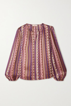 Tory Burch Pleated Printed Satin Blouse - Pink