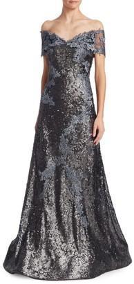 Rene Ruiz Collection Off-Shoulder Sequin Lace Applique Gown