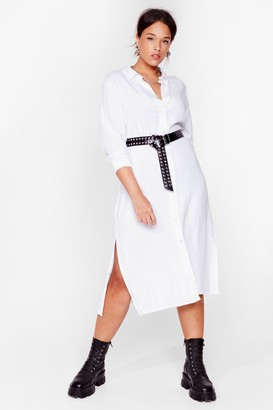 Nasty Gal Womens You're So Shirty Plus Midi Dress - White - 16, White