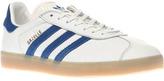 Adidas White & Blue Gazelle Trainers