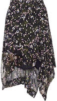 Isabel Marant Myles Floral-print Fil Coupé Silk-blend Georgette Skirt - Midnight blue