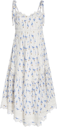 LoveShackFancy Antonella Lace-Trimmed Floral-Print Cotton-Voile Midi Dress