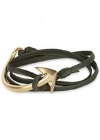 Miansai Green Anchor Leather Wrap Bracelet