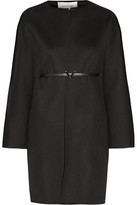 Valentino Belted Wool And Cashmere-blend Coat - Black