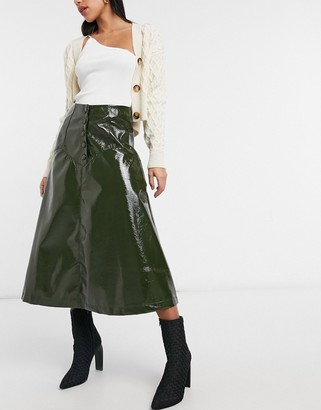 Lost Ink midi circle skirt with button front in olive faux leather