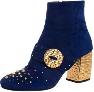Prada Blue Suede Studded Metallic Block Heel Ankle Boots Size 38.5