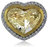 18K Two Tone Gold 8.32ct Heart Shaped Fancy Yellow Diamond Engagement Ring