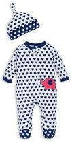 Offspring Infant Girls' Heart Print Footie and Hat Set - Sizes Newborn-9 Months