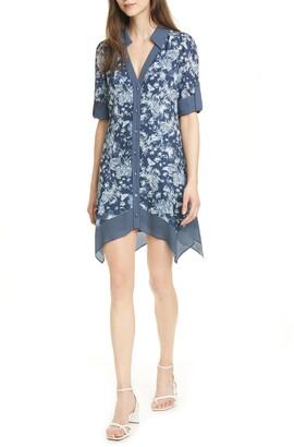 Alice + Olivia Conner Roll Handkerchief Shirt Dress