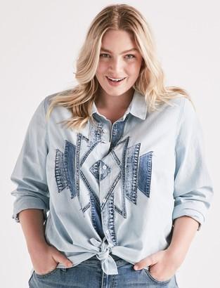 Lucky Brand Customized Patch Denim Shirt