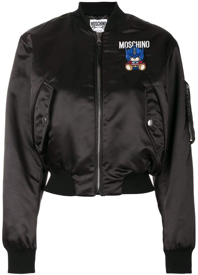 Moschino Robot bear patch bomber jacket