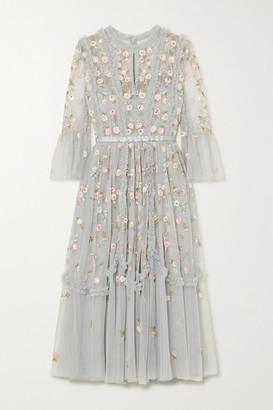 Needle & Thread Wallflower Ruffled Embellished Embroidered Tulle Dress - Sky blue