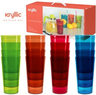 IDEA Plastic Tumblers Dishwasher Safe Water Drinking Glasses Reusable Cups Acrylic Tumblers Break Resistant 20- Ounce Tumbler Set of 16 in 4 Assorted Colors Best Gift by Kryllic