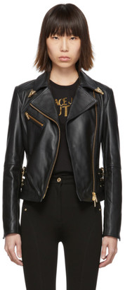 Versace Black Leather Perfecto Jacket