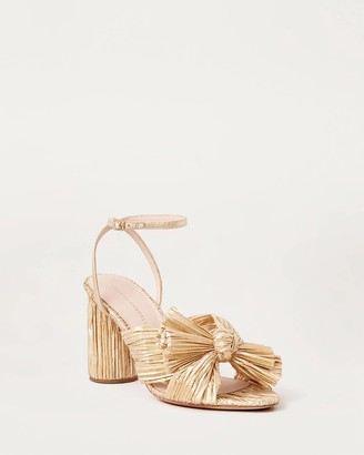Camellia Bow Heel with Ankle Strap Gold
