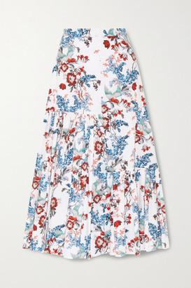 Erdem Gaura Tiered Floral-print Cotton-poplin Midi Skirt - White