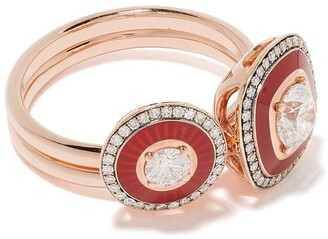 Selim Mouzannar 18kt Rose Gold Diamond Ring Set