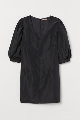 H&M H&M+ Puff-sleeved Dress - Black