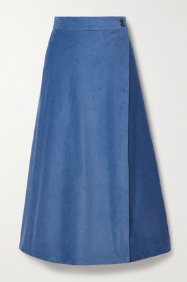 Three Graces London Theo Cotton-corduroy Wrap Midi Skirt - Blue