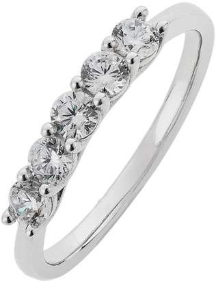 Revere 9ct White Gold Claw Set Cubic Zirconia Eternity Ring
