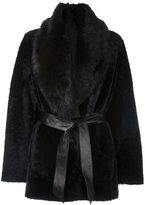 Drome short belted coat - women - Sheep Skin/Shearling/Lamb Fur - L