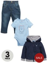 Ladybird Baby Boys 3pc Hooded Top, Bodysuit & Jea
