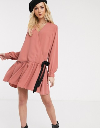 ASOS DESIGN wrap tie side smock mini dress with pephem