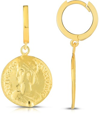 Sphera Milano 18K Gold Plated Sterling Silver CZ Coin Earrings