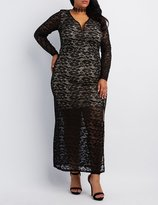 Charlotte Russe Plus Size Plunging Lace Maxi Dress