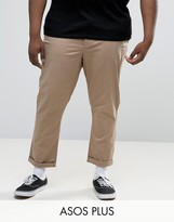 Asos Plus Tapered Chinos In Stone