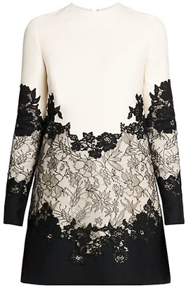 Valentino Lace-Trimmed Virgin Wool & Silk Mini Dress