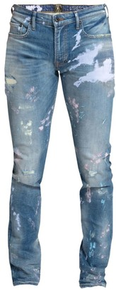 PRPS Distressed Multicolor Paint Skinny Fit Jeans