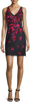 Aidan Mattox Sleeveless Floral-Embroidered Cocktail Dress, Black