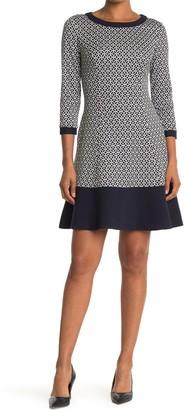 Eliza J Geometric Colorblock Trim Dress