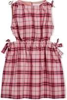 Burberry Tie Detail Check Cotton Dress