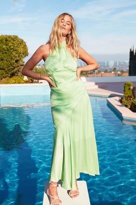 Nasty Gal Womens Glow With It Satin Maxi Dress - Mint